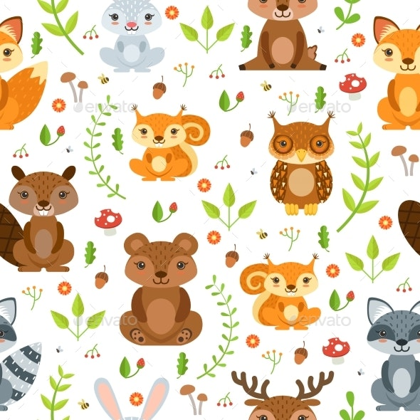 Vector Seamless Pattern of Forest Animals - Backgrounds Decorative