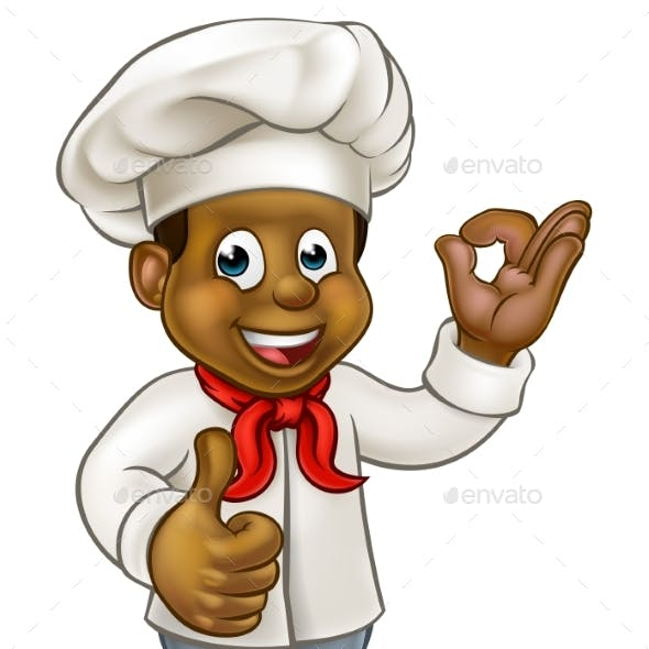 Cartoon Black Chef Cook