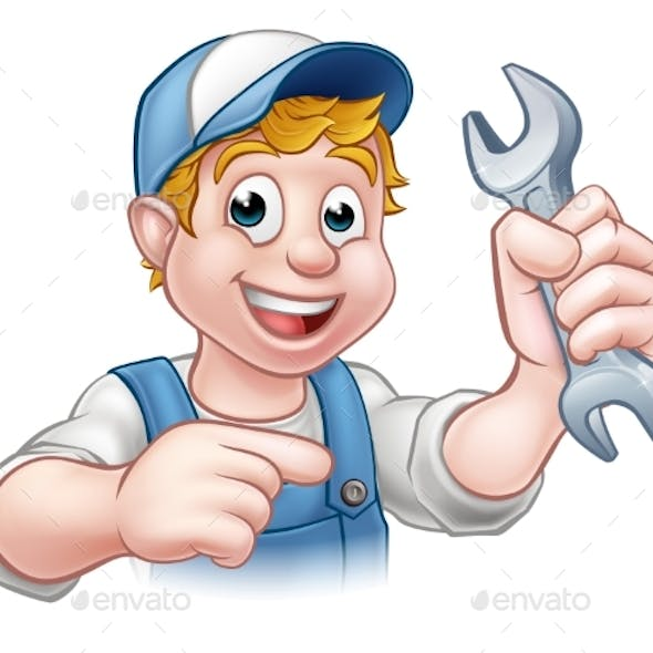 Cartoon Mechanic or Plumber with Spanner