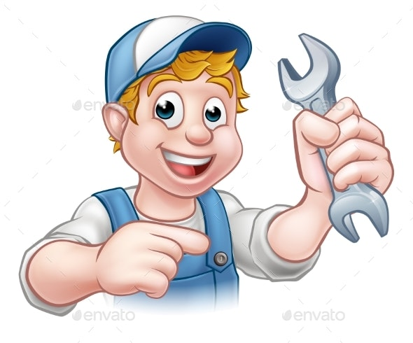 Cartoon Mechanic or Plumber with Spanner - People Characters