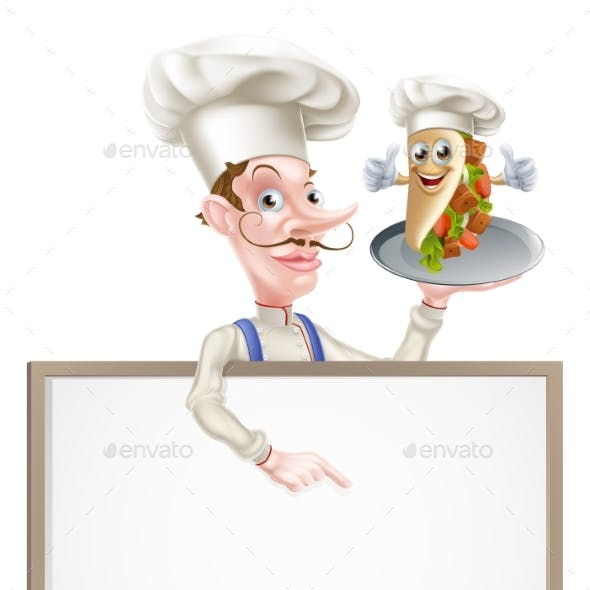 Cartoon Chef Pointing at Kebab Sign