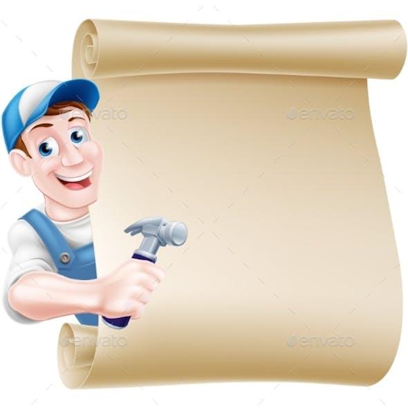 Cartoon Carpenter Scroll