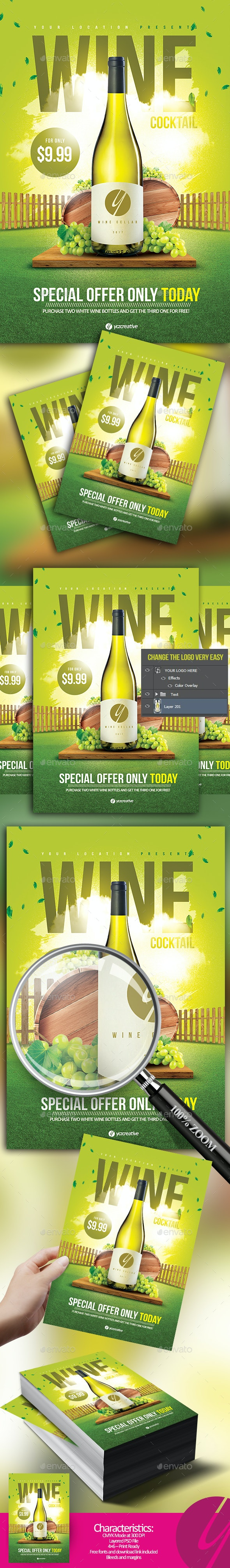 White Wine Cocktail Flyer - Events Flyers