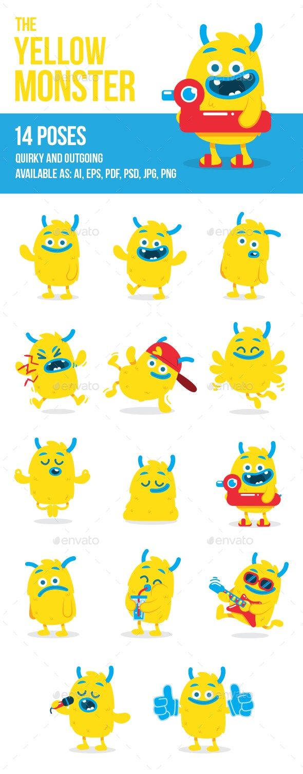 The Yellow Monster in 14 Poses - Monsters Characters