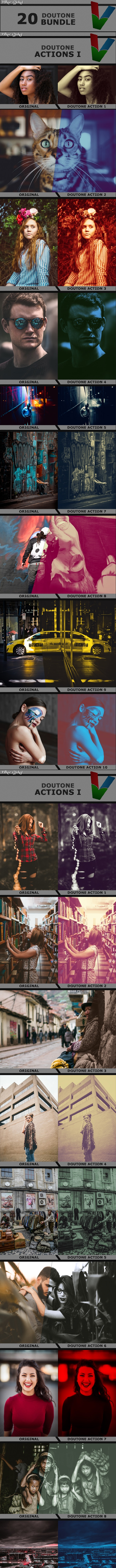 20 Doutone Actions Bundle - Photo Effects Actions