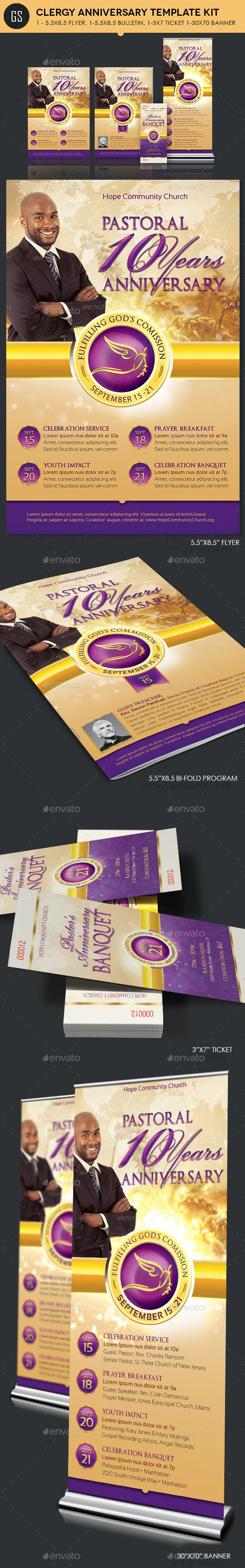 Clergy Anniversary Template Kit - Church Flyers
