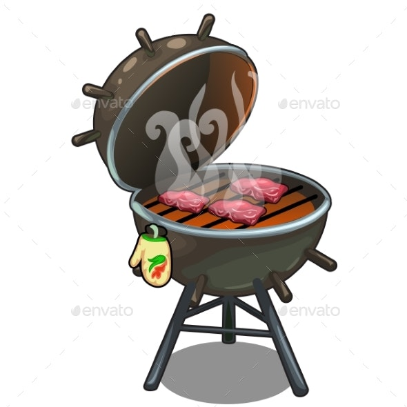 Barbecue Roasted Meat on the Grill Outdoors - Food Objects