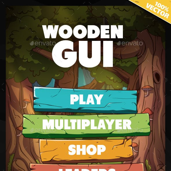 Wooden GUI and Game Level Map with 9 Different Worlds
