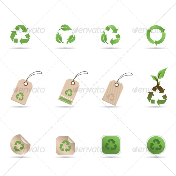 Recycling symbols, tags and stickers