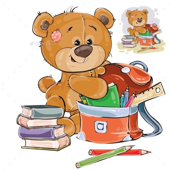 Brown Teddy Bear Holds School Supplies - Animals Characters