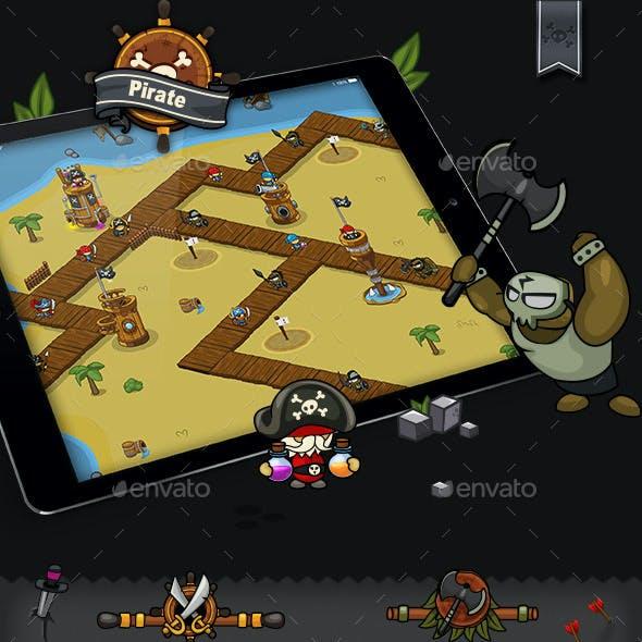 Tower Defense Game Set Pirate