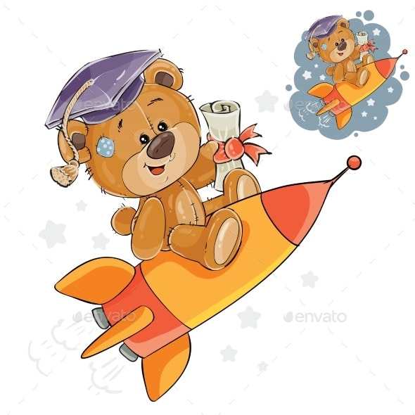 Vector Illustration of a Cheerful Brown Teddy Bear - Animals Characters