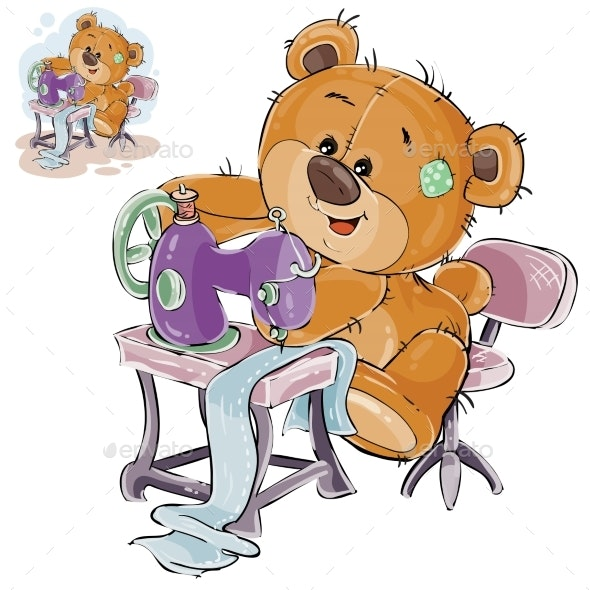 Vector Illustration of a Brown Teddy Bear Tailor - Animals Characters