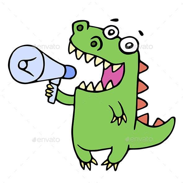 Dinosaur Shouting in Megaphone