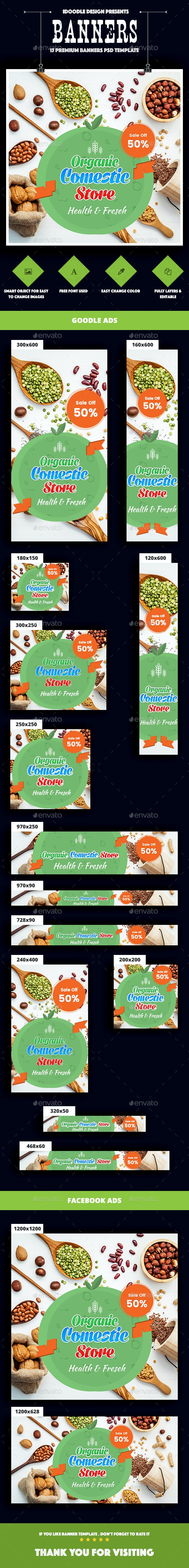 Organic Comestic, Fresh Food Banner Ads - Banners & Ads Web Elements