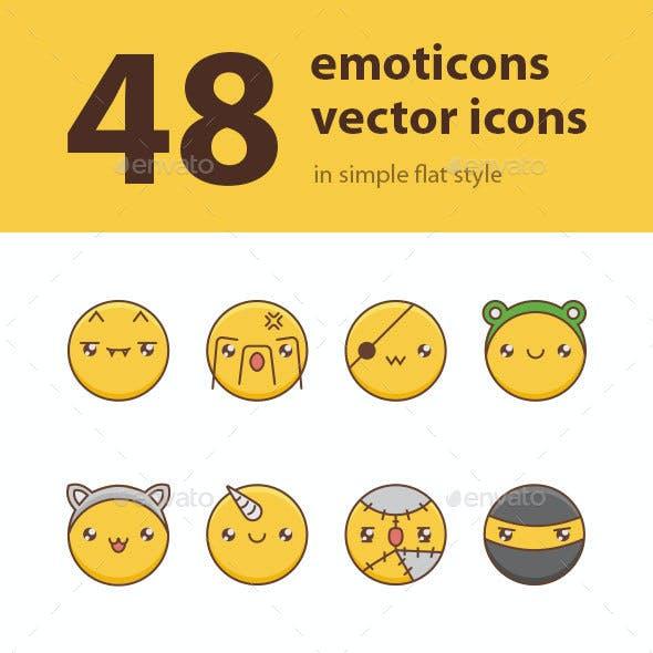 48 Emoticons vector icon set