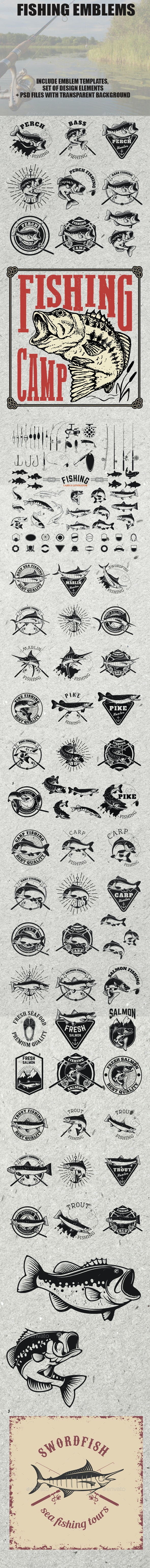 Set of Fishing Label and Design Elements - Animals Characters