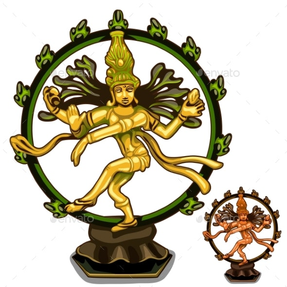 Vector Hindu Figurines of Cali on White Background - Religion Conceptual