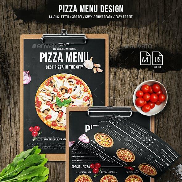 Pizza Menu Design - A4 and US Letter