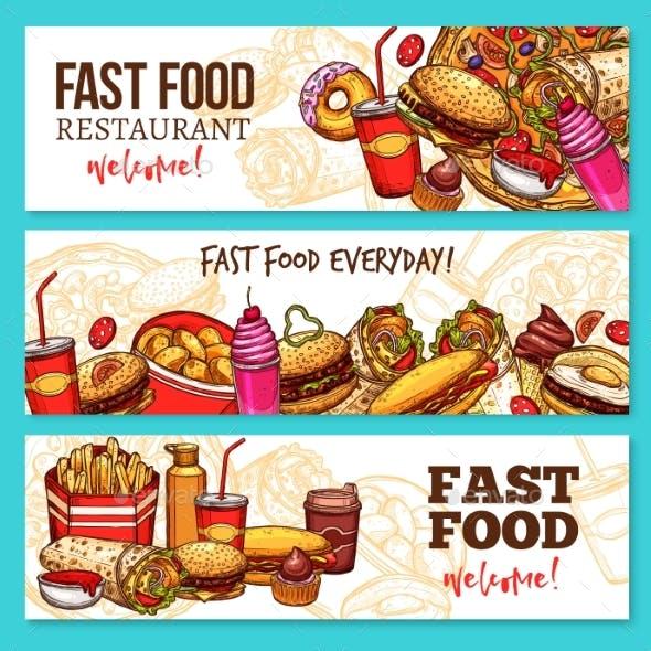 Fast Food Restaurant Sketch Banner Set Design