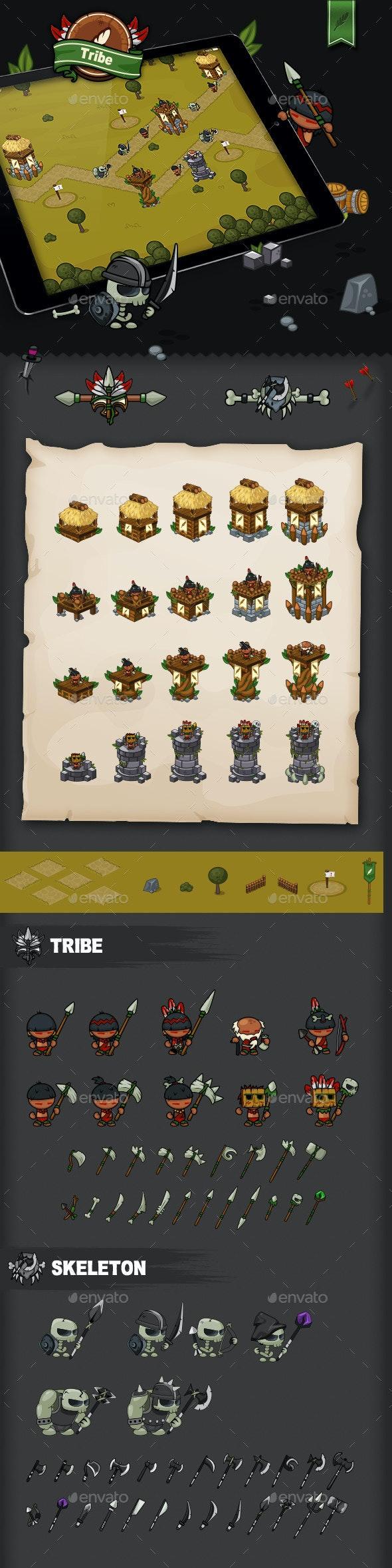 Tower Defense Game Set Tribe - Game Kits Game Assets