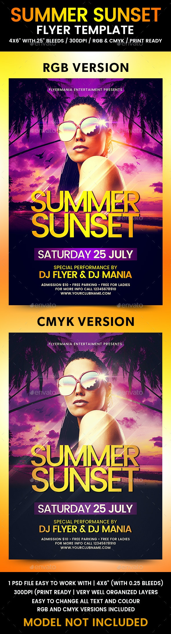 Summer Sunset Flyer Template - Clubs & Parties Events
