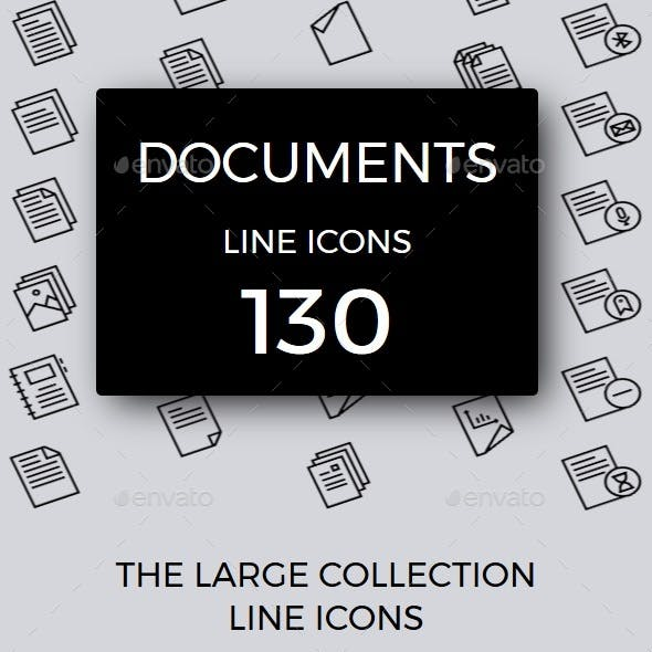 Documents line icons