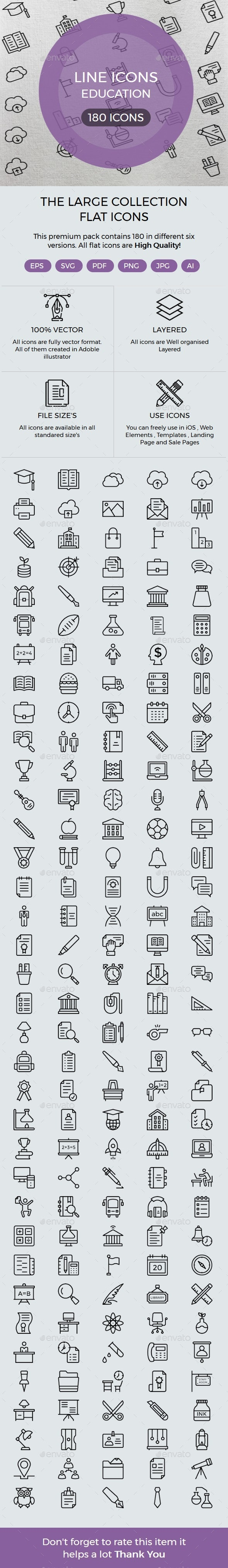 Education line icons - Icons