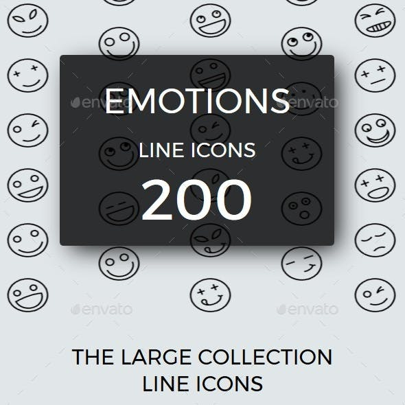 200 Emotions line icons