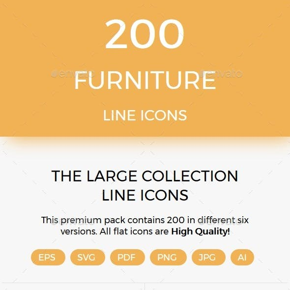 200 Furniture line icons