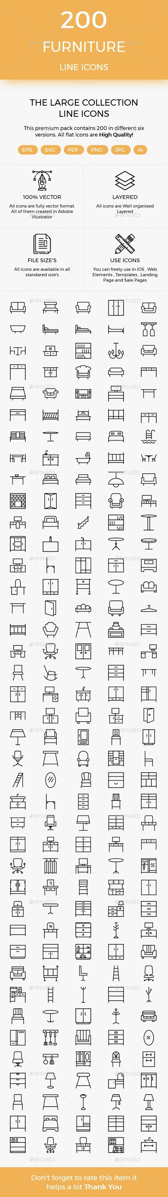 200 Furniture line icons - Icons