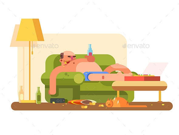 Lazybones Character Design Flat - People Characters