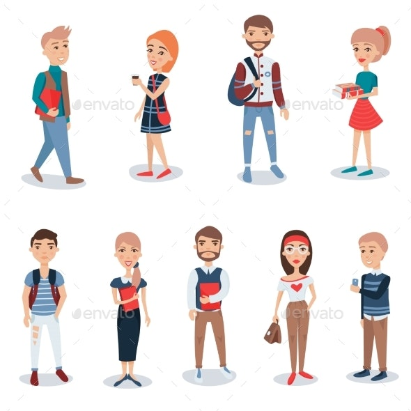 Young People in Casual Clothes Standing Set - Characters Vectors