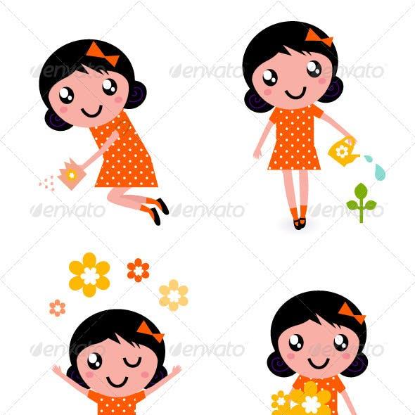 Cute little gardener girl set - retro
