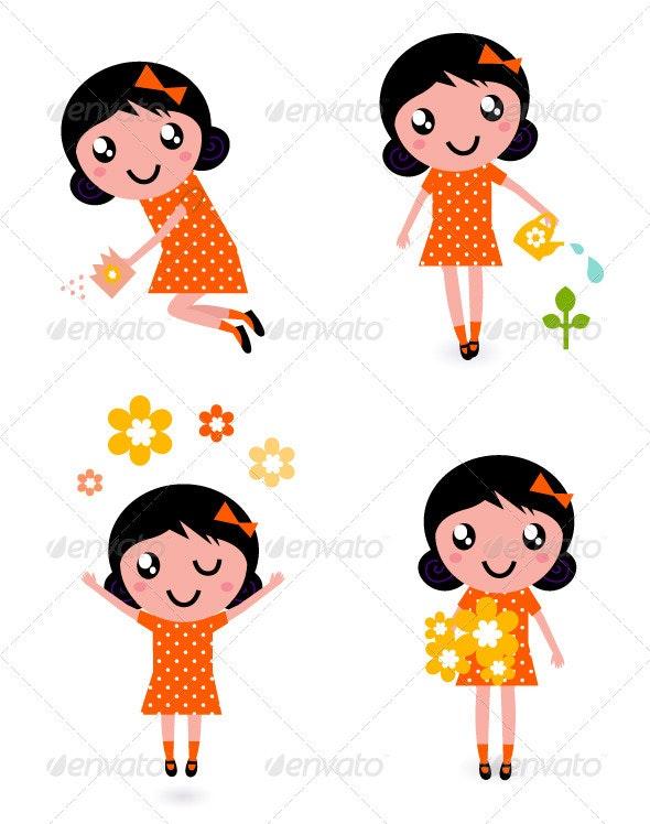 Cute little gardener girl set - retro - Seasons Nature