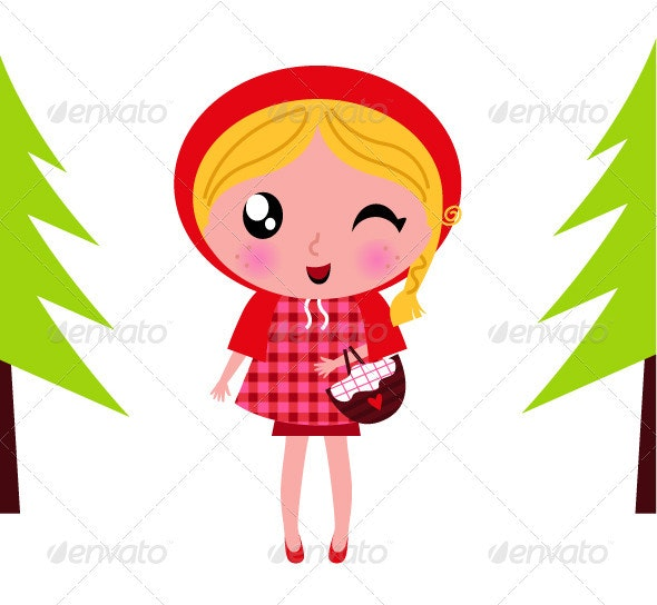 Cute little red riding hood in a forest - People Characters