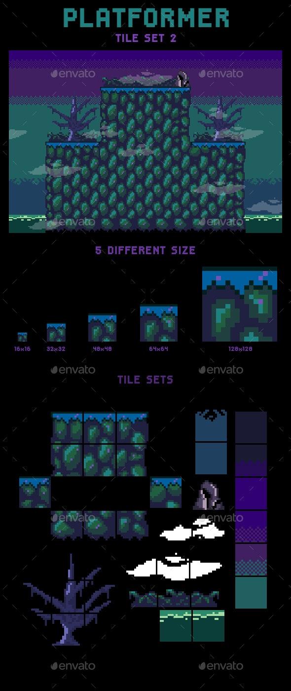Swamp Platformer Tileset - Tilesets Game Assets