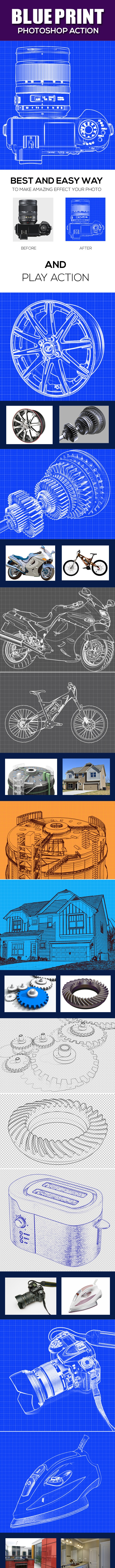 Blueprint Photoshop Action - Photo Effects Actions