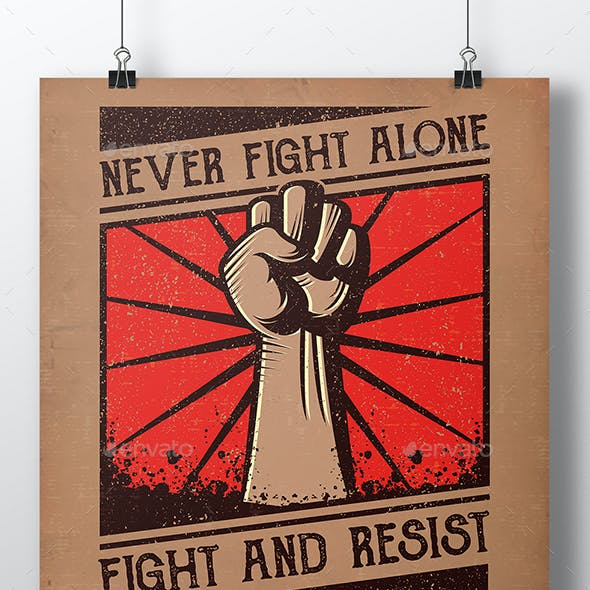 Revolution Fist Poster Template