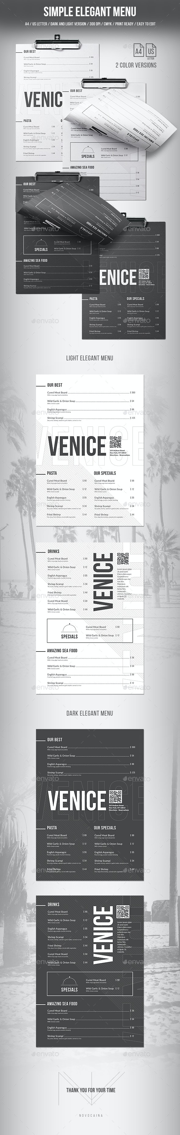 Simple Elegant Menu - A4 and US Letter - 2 Color Versions - Food Menus Print Templates