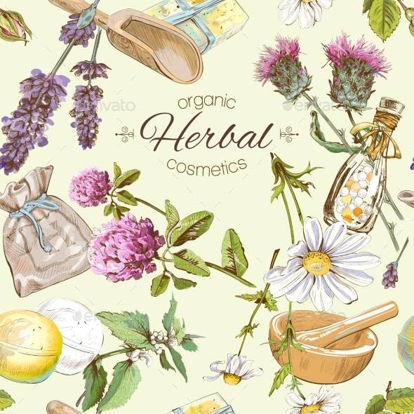 Herbal Cosmetics Pattern - Organic Objects Objects