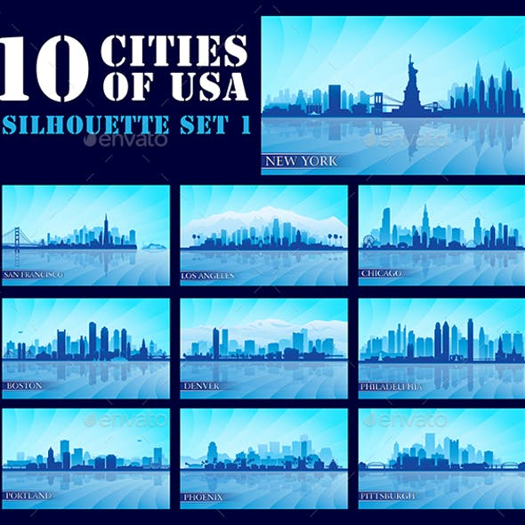 Set of 10 Silhouettes USA Cities