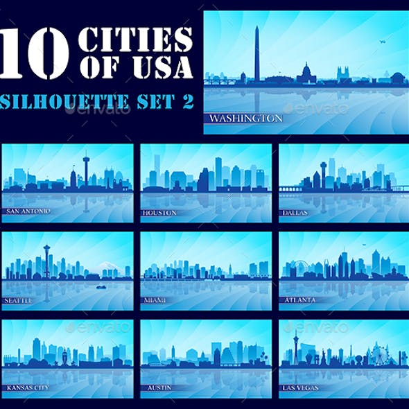 Set of 10 Silhouettes USA Cities #2