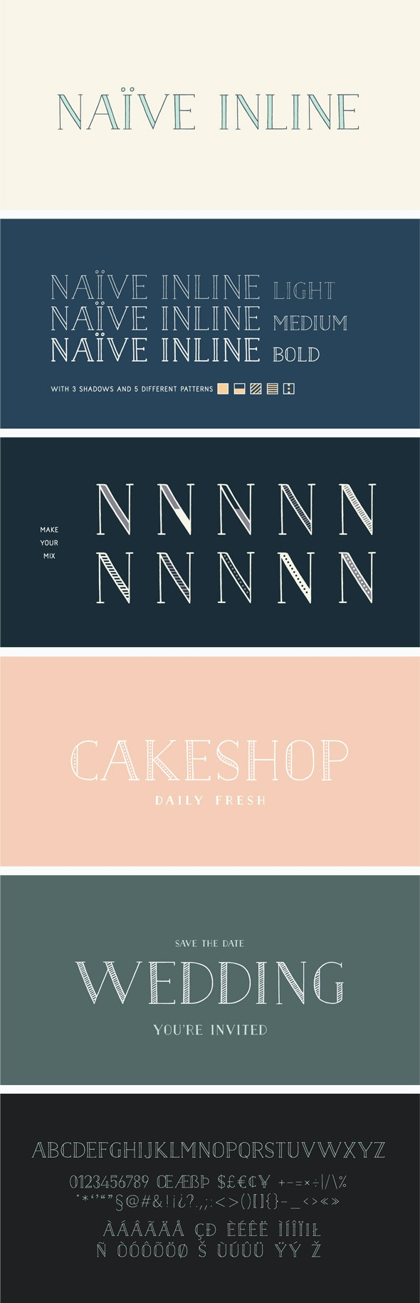 Naive Inline Font Pack - Handwriting Fonts