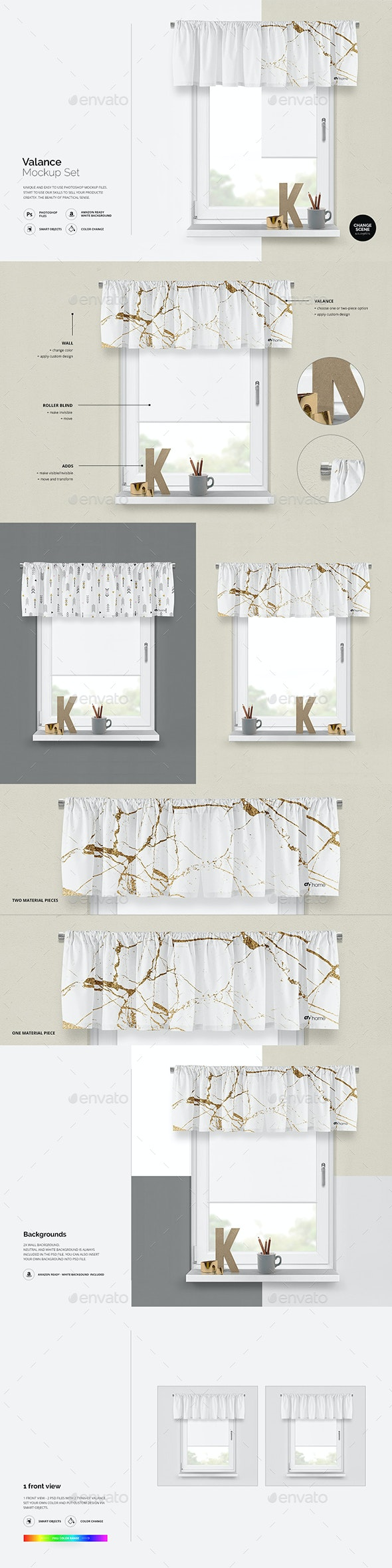 Curtain Valance Mockup - Product Mock-Ups Graphics