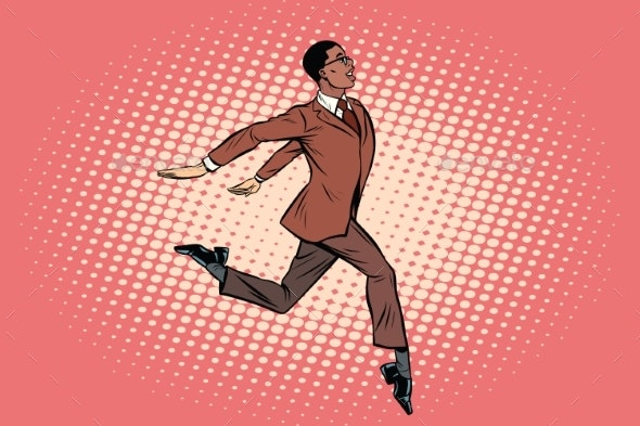 Businessman Runs Forward - Concepts Business