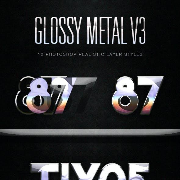 Glossy Metal Photoshop Layer Styles V3