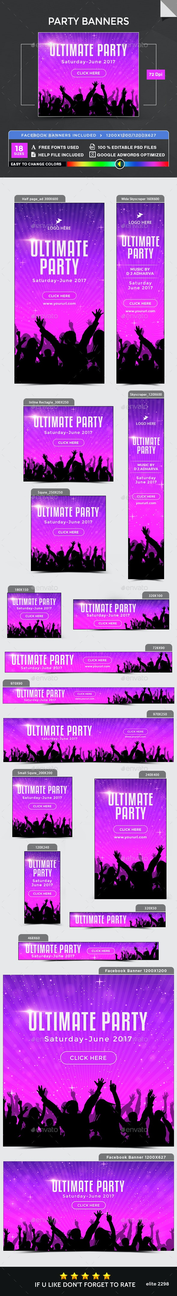 Party Banners - Image Included - Banners & Ads Web Elements