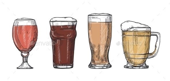 Glasses of Beer Freehand Drawing - Food Objects