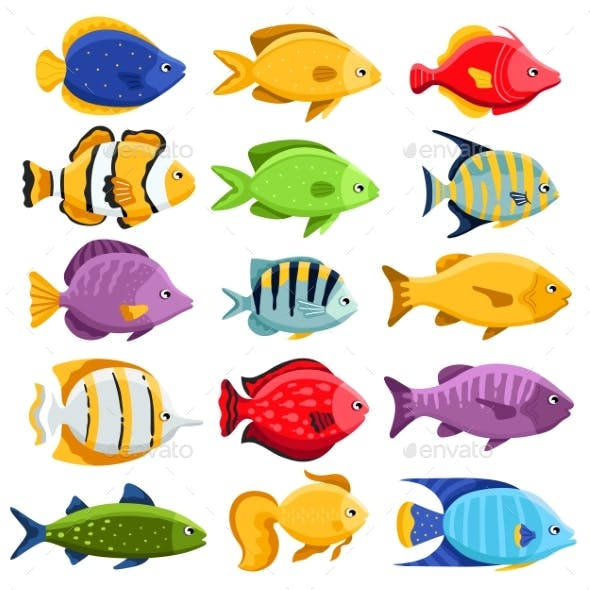 Colorful Reef Tropical Fish Set